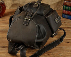 Cool Leather Mens Backpack Vintage Travel Backpack School Backpack for men