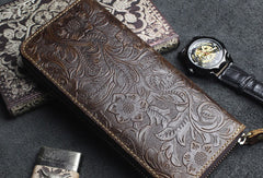 Handmade long leather wallets floral leather clutch wallet for women men zip