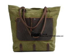 Mens Waxed Canvas Large Tote Bag Canvas Handbag Canvas Shoulder Bag for Men