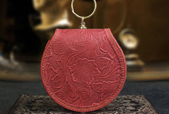 Handmade makeup leather round change coin wallet flowral leather billfold wallet for men women