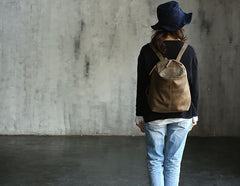 Vintage LEATHER WOMEN Barrel Backpacks School Bucket Backpacks FOR WOMEN