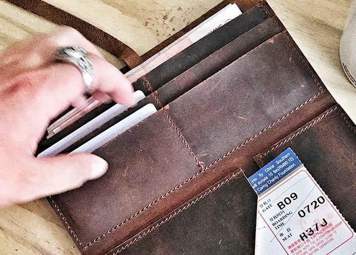 Cool Leather Mens Bifold Long Travel Wallet Leather Long Passport Wallet for Men