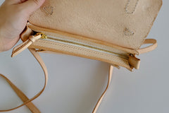 Handmade Leather Beige Womens Satchel Purse School Shoulder Bags for Women