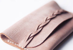 Handmade leather braided personalized custom short coin change wallet card wallet for women