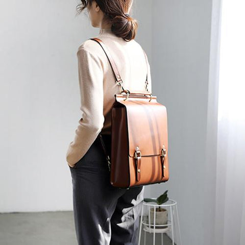 Best Brown Leather Womens Satchel Backpack Laptop Leather Brown School Backpack for Women