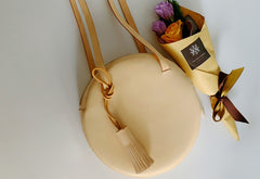 Handmade Leather Beige Womens Small Round Shoulder Bag Circle for Women