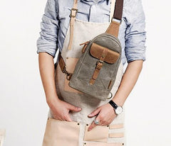 Cool Canvas Mens Sling Bag Sling Backpack One Shoulder Pack Chest Bag for men