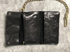 Handmade Leather Biker Wallet Trifold Folding Mens Cool Chain Wallet Trucker Wallet with Chain