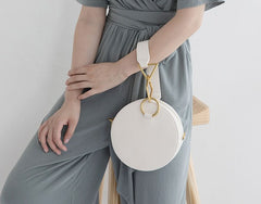 Round Leather Womens Stylish Circle Handbag Round Purse for Women