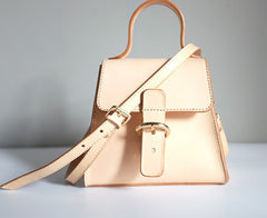 Handmade Beige Leather Box Womens Handbag Shoulder Bag Crossbody Purse for Women