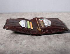 Handmade Genuine Leather Mens Cool Slim Leather Short Wallet Men Small Wallets Bifold for Men