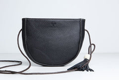 Genuine Leather Cute Crossbody Bag Circle Saddle Bag Shoulder Bag Women Girl Fashion Leather Purse
