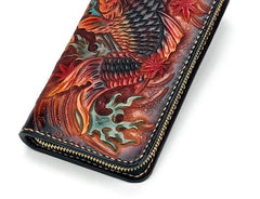 Handmade Leather Carp Mens Zipper Biker Wallet Cool Leather Chain Wallet Long Tooled Wallets for Men