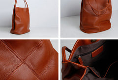 Genuine Leather Bucket Bag Large Tote Bag Shopper Bag Shoulder Bag Purse For Women