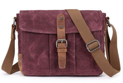 Mens Waxed Canvas Small Side Bag Messenger Bag Canvas Courier Bags for Men