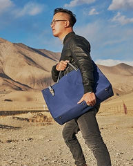 Mens Leather Canvas Large Handbag Canvas Weekender Bag Canvas Travel Bag for Men