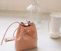 Stylish Leather Pink Womens Bucket Purse Crossbody Bag Barrel Shoulder Bag for Women