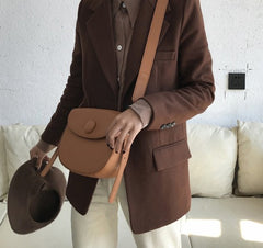 Cute Leather Red Brown Womens Saddle Purse Saddle Shoulder Bag for Women