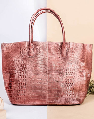 Genuine Leather Bag Crocodile Style Tote Bag Handbag Shoulder Bag Purse For Women
