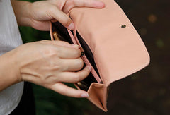 Leather Cute Womens Long Slim Wallet Bifold Long Wallet Clutch For Women