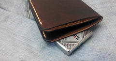 Coffee Vintage Leather Mens Small Wallet Leather Short Bifold Wallets for Men
