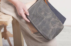 Cool Canvas Leather Mens Large Clutch Wallet Zipper Wristlet Bag Purse for Men