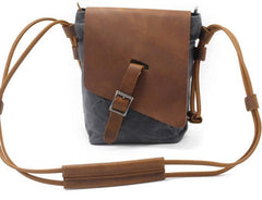 Cool Mens Waxed Canvas Leather Small Courier Bags Canvas Side Bags Messenger Bag for Men