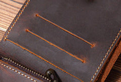 Handmade Genuine Leather Wallet Short Leather Wallet Bifold Slim Wallet Purse Bag For Mens