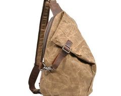 Cool Waxed Canvas Mens Sling Bag Chest Bag One Shoulder Packs for men