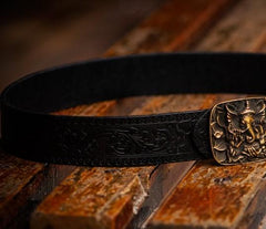 Handmade Black Leather Mens Belt Cool Leather Men Belts for Men