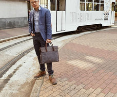Mens Gray Canvas Leather Briefcase Handbag Work Bag Business Bag for Men