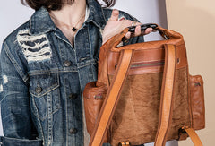 Handmade Genuine Cute Leather Backpack Bag Shoulder Bag Leather Purse For Women
