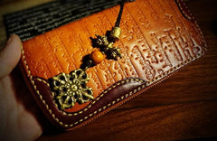 Handmade Leather Mens Tibetan Chain Biker Wallets Cool Leather Wallet Long Clutch Wallets for Men