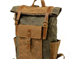 Waxed Canvas Mens Backpacks Canvas Travel Backpack Canvas School Backpack for Men