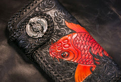Handmade Leather Long Black Biker Wallet Trucker Wallet Leather Chain Men Red Carp Tooled Wallet