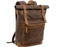 Coffee Waxed Canvas Leather Mens Cool Backpack Canvas Travel Backpack Canvas School Backpack for Men