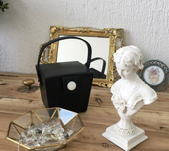 Cute Leather Black Womens Mini Box Purse Handbag Barrel Shoulder Bag for Women