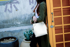 Handmade Leather Beige Womens Handbag Bucket Purse Barrel Bag for Women