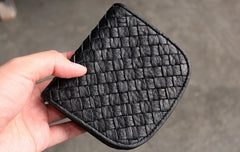 Cute LEATHER Womens Braided Small Wallet Bifold Leather Small Wallet FOR Women
