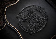 Handmade Leather Black Mens Tooled Skull Chain Biker Wallet Cool Leather Wallet Long Clutch Wallets for Men