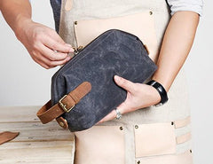 Large Canvas Mens Clutch Bag Zipper Wristlet Bag Phone Purse for Men