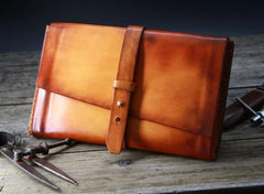 Handmade Leather Mens Brown Bifold Long Wallet Vintage Cool Clutch Wallet for Men