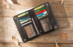 Cool Black Wristlet Wallet Leather Mens Long Wallet Long Wallet for Men