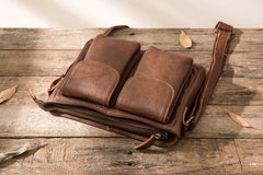 Cool Small Leather Vintage Mens Messenger Bag Shoulder Bags  for Men