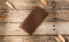 Cool Vintage Slim Mens long Wallet Leather Wallet Bifold Long Wallets for Men