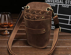 Cool Leather Mens Hairstylist Tool case barber pouch scissors case Belt Pouch Waist Bag