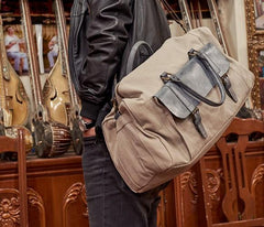 Mens Leather Canvas Large Weekender Bag Canvas Travel Bag for Men