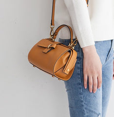 Small Leather Stylish Womens Boston Handbag Doctor Shoulder Bag for Women