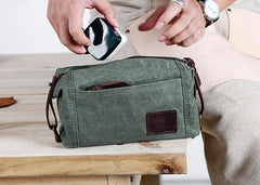 Large Canvas Green Mens Clutch Bag Zipper Wristlet Bag Phone Purse for Men