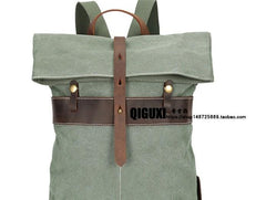 Cool Waxed Canvas Gray Leather Mens Backpack Canvas Travel Backpack Canvas School Backpack for Men